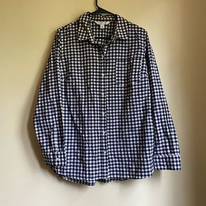 Navy and white gingham button down